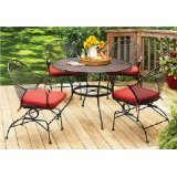 Better Homes and Gardens Clayton Court 5-piece Patio Dining Set, Wrought Iron Table and 4 Chairs ...