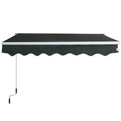 Goplus Manual Patio 8.2'×6.5′ Retractable Deck Awning Sunshade Shelter Canopy Outdoo ...