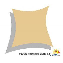 Patio Watcher 9'10″X8′ UV Block Sun Shade Sail Canopy in Sand, 185GSM Sun Shelter