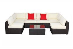 Do4U 7 Pieces Outdoor Patio PE Rattan Wicker Sofa Sectional Furniture Set(Expresso-6004)