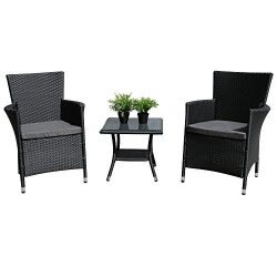 PATIOROMA 3PC Patio Outdoor Rattan Furniture Set Cushioned Garden Table and Chairs with Gray Cus ...