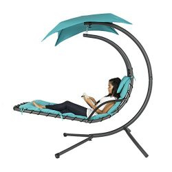 Best Choice Products Hanging Chaise Lounger Chair Arc Stand Air Porch Swing Hammock Chair Canopy ...