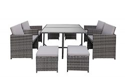 Modern 8 Piece Space Saving Outdoor Furniture Dining Set, Patio Rattan Table and Chairs Set (Gre ...
