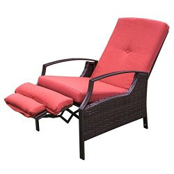 HollyHOME Patio Wicker Adjustable Recliner Chair, Relaxing Lounge Chair with Thick Red Spunpoly  ...