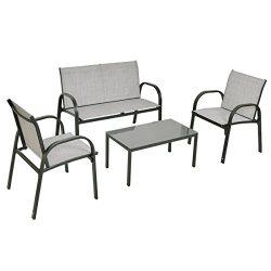 Tangkula 4 PCS Patio Furniture Conversation Set (Gray)