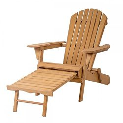 Outdoor Wood Adirondack Chair Foldable w/ Pull Out Ottoman Patio Furniture