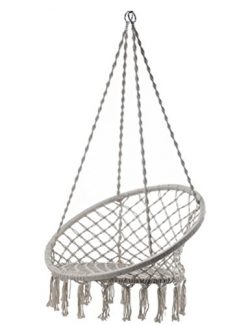 Outdoor Cotton Rope Patio Garden Hammock Chair Swing Max Weight: 260 Pounds Good for Lounging an ...