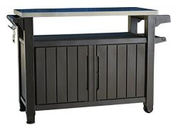 Keter Unity XL Indoor Outdoor Entertainment BBQ Storage Table / Prep Station / Serving Cart with ...
