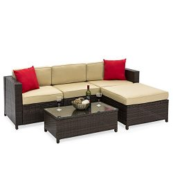 Best Choice Products 5-Piece Wicker Patio Sectional Set w/ Beige Cushions and Red Accent Pillows ...
