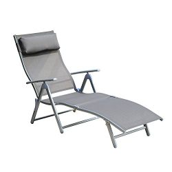 Outsunny Patio Reclining Chaise Lounge Chair with Cushion (Gray)