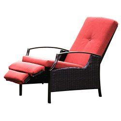 Naturefun Indoor/Outdoor Wicker Adjustable Recliner Chair, Relaxing Lounge Chair with Thick Spun ...