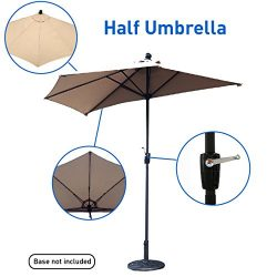 EasyGo – 9' Half Umbrella 200g Polyester Patio Outdoor Awning Hut Parasol with Crank 5 Steel Rib ...