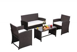 Do4U Outdoor Patio Furniture Set 4 Pcs PE Rattan Wicker Garden Sofa and Chairs Set with Beige Cu ...