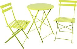 Carlota Furniture Outdoor Bistro Set, Features 1 Folding Table and 2 Folding Chairs with Safe Lo ...