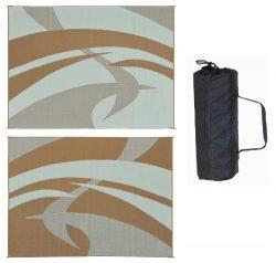 Reversible Mats 159127 Brown/Beige 9'x12′ Swirl Patter Mat