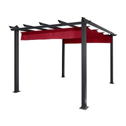 ALEKO 9 x 9 Feet Aluminum Grape Trellis Pergola Outdoor Canopy Gazebo, Burgundy Color