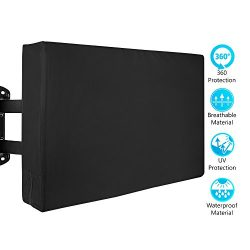 Outdoor TV Cover – Weatherproof Protector from Rain, Wind, Sun, UV, Dust – Fits 50&# ...