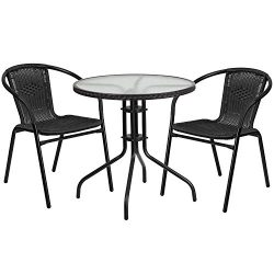 "Flash Furniture 28"" Round Glass Metal Table with Black Rattan Edging and 2 Black Rattan St ..."