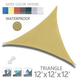 LOVE STORY 12′ x 12′ x 12′ Triangle Sand Waterproof Sun Shade Sail Perfect for ...
