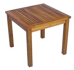 Zen Garden Eucalyptus Square Side Table, 19″ x 19″ x 17.5″, Teak Wood Finish,  ...