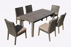Carabelle Hardwood and Wicker Outdoor Patio 7 Piece Straight Leg Dining Set with Seat Cushions,  ...