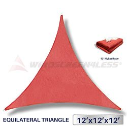 12′ x 12′ x 12′ Sun Shade Sail UV Block Fabric Canopy in Red Triangle for Pati ...