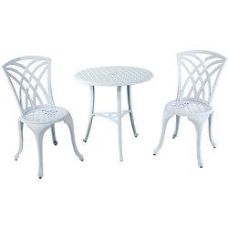 White Weave Design Aluminum Bistro Set, 3-Piece