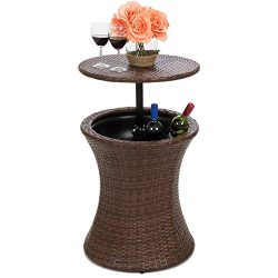 Best Choice Products 7.5 Gallon All-Weather Wicker Ice Bucket Hourglass Round Side Bar Table w/  ...