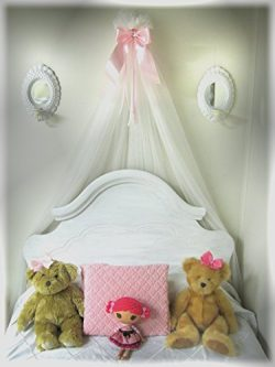 Bed Crib BOW canopy for bedroom or nursery Light pink Shabby Chic
