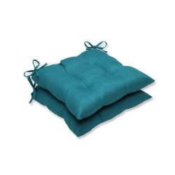 Pillow Perfect Outdoor Rave Teal Wrought Iron Seat Cushion, Set of 2