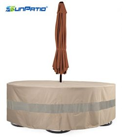 SunPatio Round Veranda Patio Table & Chair Set Cover, Extremely Lightweight, Water Resistant ...