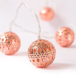 Ling's Moment Rose Gold Moroccan Lamp 10 LED Globe String Lights for Indoor, Bedroom, Curtain, P ...