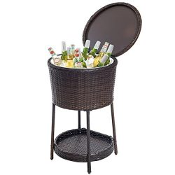 Giantex Rattan Ice Bucket Bar Table Cooler Patio Wicker Furniture, All-Weather Beverage Cooler w ...