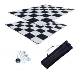RV Patio Mat Awning Mat Outdoor Leisure Mat 9×18 Checkered Flag Complete Kit