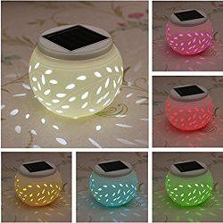 Ceramic Solar Light,SOLMORE LED Solar Ceramic Table Lights,Garden Lights,Filigree Lights,Solar O ...