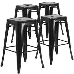 "Flash Furniture 4 Pk. 30"" High Backless Black Metal Indoor-Outdoor Barstool with Square Seat"