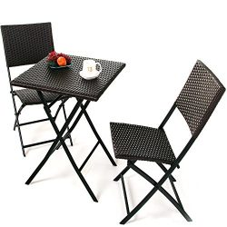 Grand Patio Parma Rattan Patio Bistro Set, Weather Resistant Outdoor Furniture Sets with Rust-pr ...