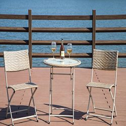 Durable Patio Furniture Iron Frame Bistro Set, Beige