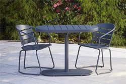 Cosco Outdoor 3 Piece Metro Retro Nesting Bistro Steel Patio Furniture Set, Assembled, Gray