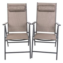 PatioPost Folding Chairs Adjustable Outdoor Recliner Patio 2 Persons Textilene Poolside Garden L ...