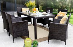 Baner Garden Outdoor Furniture Complete Patio 7Piece Pe Wicker Rattan Garden Dining Set, Brown ( ...