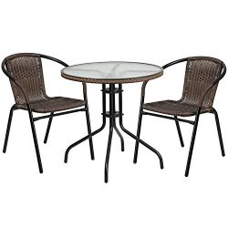 "Flash Furniture 28"" Round Glass Metal Table with Dark Brown Rattan Edging and 2 Dark Brown ..."