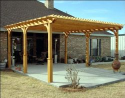 8′ x 12′ Treated Pine 2-Beam Pergola with Stain