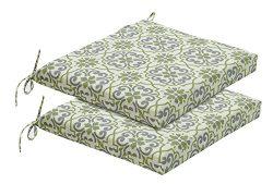 Bossima Indoor/Outdoor Green/Grey Damask Seat Pad, Set of 2
