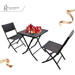 H&L Patio Resin Rattan Steel Folding Bistro Set, Parma Style, All Weather Resistant Resin Wi ...