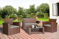 Baner Garden (N87-BR) 4 Pieces Conversational Outdoor Furniture Complete Patio Cushion Wicker Ra ...