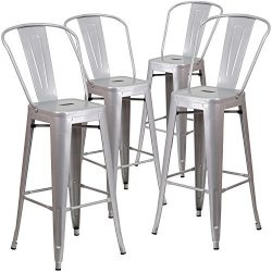 "Flash Furniture 4 Pk. 30"" High Silver Metal Indoor-Outdoor Barstool with Back"