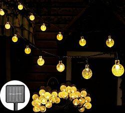 Solar String Lights 20ft 30LED Crystal Ball Globe String Lights-Waterproof LED Fairy Lighting fo ...