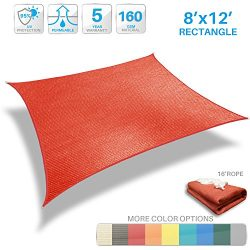 Patio Paradise 8'x12′ Red Sun Shade Sail Rectangle Canopy – Permeable UV Block ...