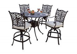 AC HOME & PATIO AC18-5PC-25FCH Amanda 5 Piece Counter Height Bar Table/Seat Cushion, 42&#824 ...